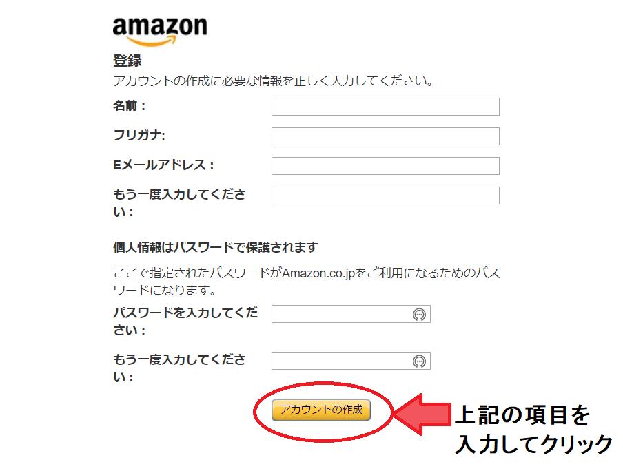 Amazonアカウント登録
